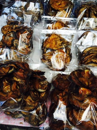 fish: Dried fish in pan Stock Photo