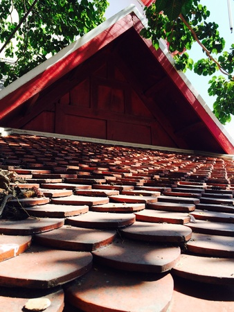 buddhist temple roof: Ancient temple roof Stock Photo