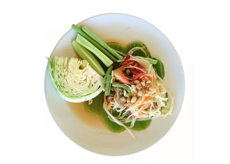 green papaya salad: green papaya salad is Thai food isolated in white background