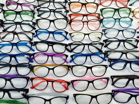 eye: Eyeglasses have numbers attached to the rim Stock Photo