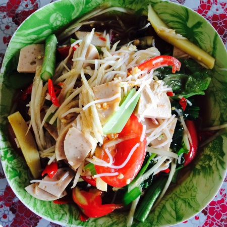 green papaya salad: Som Tam is green papaya salad cuisine from Thailand