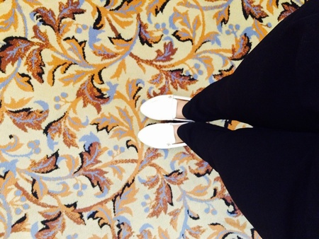 back: Standing on the basically patterned fabrics