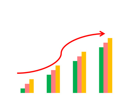 operational: Business success concept show graph picture increase and the hand on graph performance report Stock Photo
