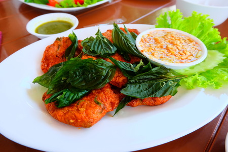 meat fish fry  seafood  cuisine food in thailand
