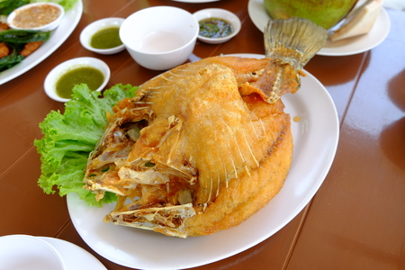 fish fry  seafood  cuisine food in thailand