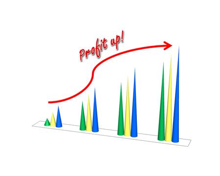 retained: aumento garph panorama de ganancias concepto de mostrar el éxito del negocio