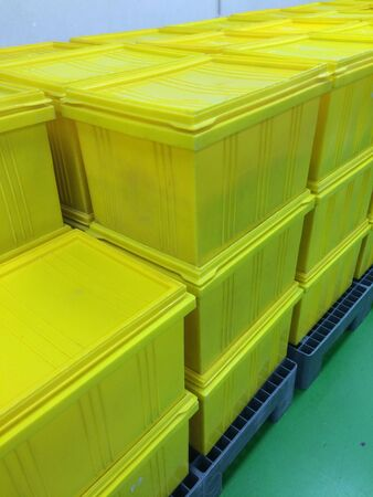 industry: Plastic boxes and crates for transportation industry Stock Photo