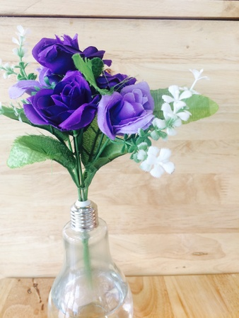 artistic: Purple roses and vase images can be filled in. Stock Photo
