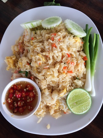 fried Rice with crab meat Stock Photo