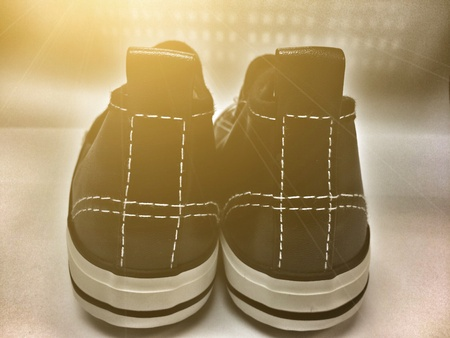 vintage picture of canvas shoes make vintage and ligh effect