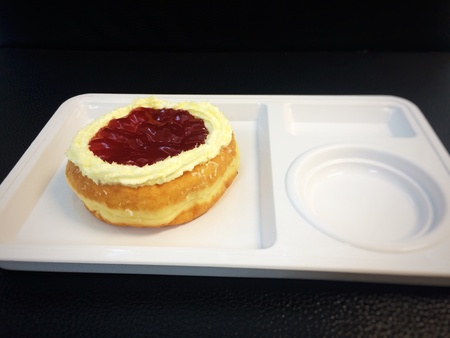 custard slice: Donut bread topped with strawberry sauce