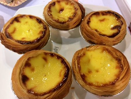 Close up view of Portuguese egg tarts Stock Photo
