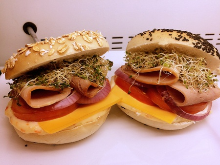 Two hamburgers are placed in the oven to serve as a cooking example