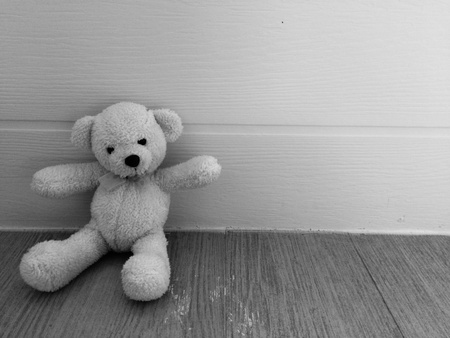 creative: black and white photo of teddy bear
