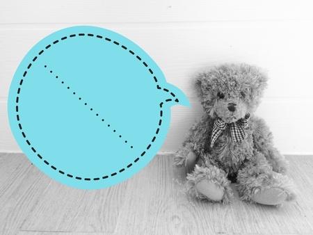 teddy bear with speech bubbles