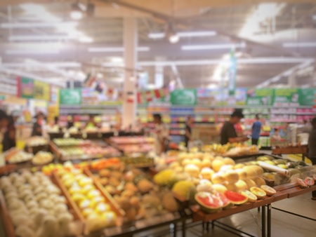 store shelf: blur photo of supermarket background, business concept