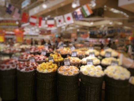 interior: blur photo of supermarket background, business concept