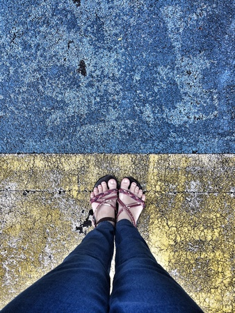 jeans: Standing on the vintage  groundfloor, walking street concept