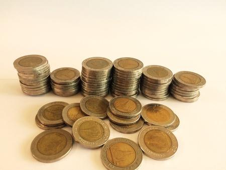 silver: Ten baht photo background of thai money, business finance concept