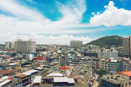 blur lanscape picture of small city in Thailand Stock Photo