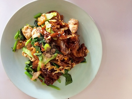 stir fried flat noodle and pork with preseved soy bean paste