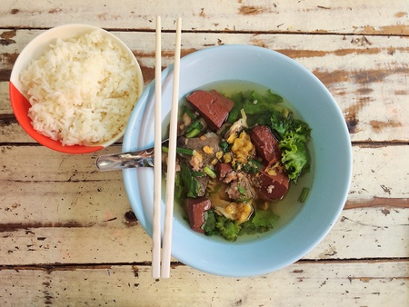 style: Thai Style Clear Soup with Congealed pork blood and rice