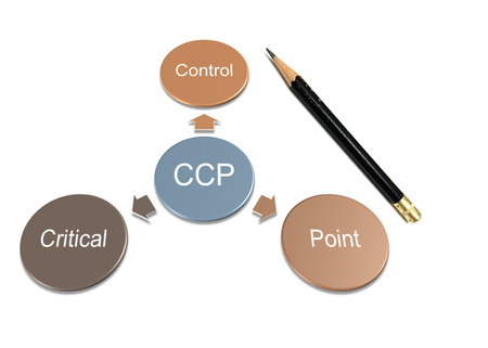 picture diagram of ccp mean to critical control point with pencil on white paper background