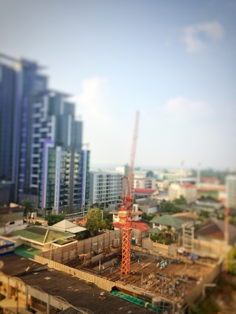Blurry picture of resident construction because increase people in the city and growth business concept