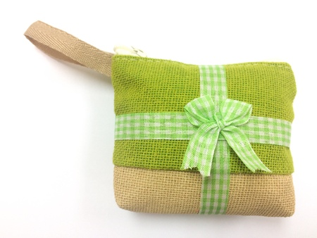 a little bags gift make from organic fiber on white background