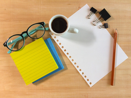 blank notbook on working desk with copy space for create job or education or anything if you want