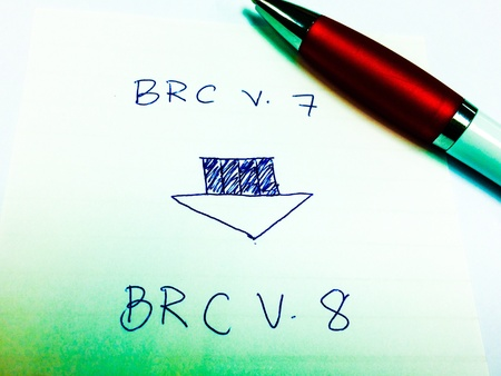 transmittion from BRC version 7 to BRC version 8 picture diagram, manufacturing and business concept