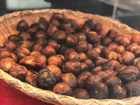 close up potrage photo of chestnuts after heat for test,foods travel and cuisine concept