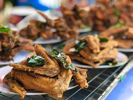 close up fried chicken in plate, food cuisine concept