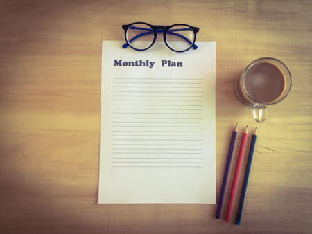 paper for  business plan with copy space on working date, business planing concept Banque d'images