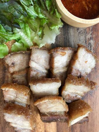 close up Crispy minced pork, food travel and cuisine