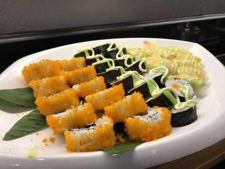 Shushi and sashimi buffet in night dining resturant