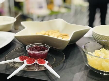 Sample food placed on the tray for sensory testing