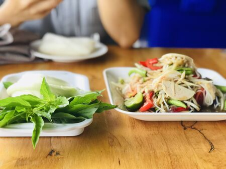 Somtum is famous Thai food, papaya spicy slad