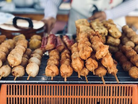 close up fried meat sell in street food market ,cuisine and food travel concept 版權商用圖片 - 132043076