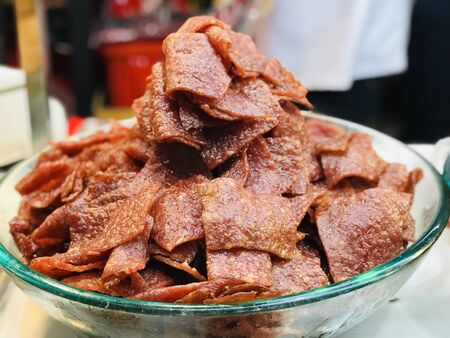 close up dried shredded pork,cuisine and food travel concept