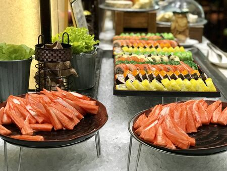 Shushi and sashimi buffet in night dining resturant
