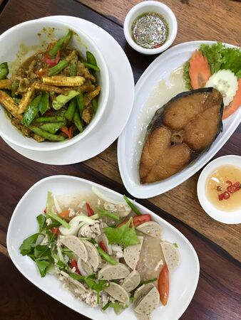 top view Thai cuisine foods on disc for serve , food travel concept
