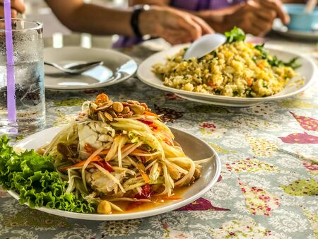 Somtum is famous Thai food