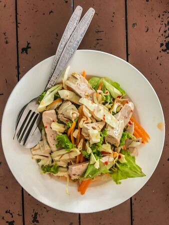 fermented pork sausage spicy Salad, food for health conscious people Stock Photo