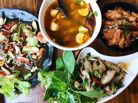 Northeast food or Isaan food, Thai cuisine street food and travel concept