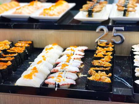 close up potrage photo of Shushi and sashimi , Japan cusine food