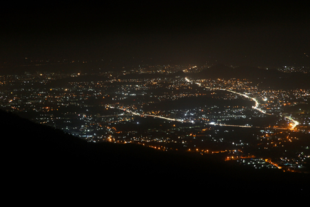 City night from the view point on top of mountain ,Mumbai india