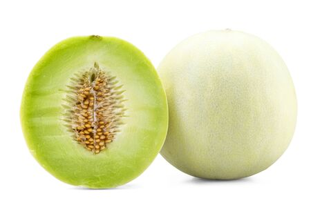 Fresh honey dew or melon slice fruit isolated on white background with clipping path