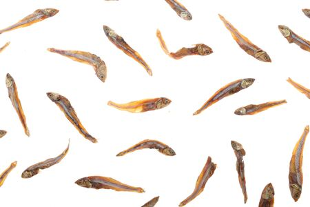 Dried fishes isolated on white background with clipping path Stok Fotoğraf