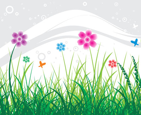 abstract flower background with vector illustration of summer  Vector